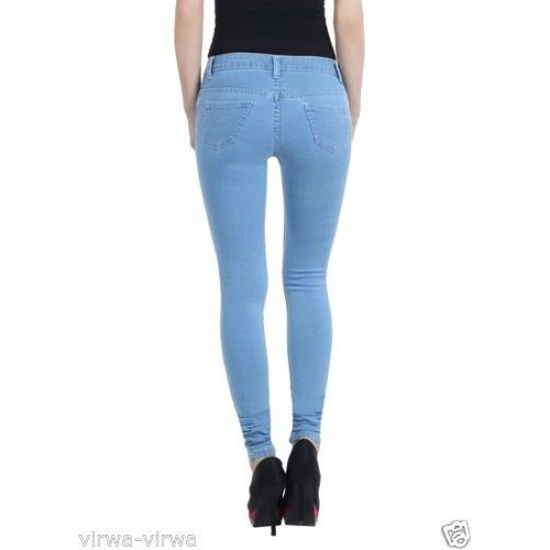 Girl Ladies Women's ice blue color Slim Fit Denim Jeans Size 28