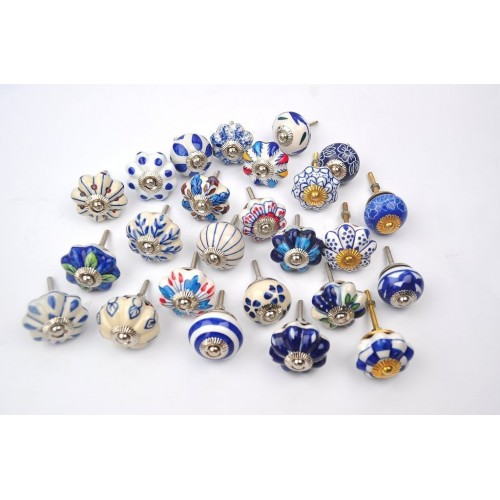 Set of 25 Blue and White Hand Painted Ce...