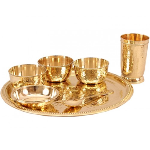 6 Piece Designer Mughlai Style Dinner Set Thali Set - 1 Plate, 3 Bowls, 1 Chuttney Bowl & 1 Glass - Dinnerware Tableware Gift item