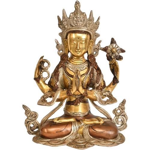 Four Armed Avalokiteshvara Brass Statue
