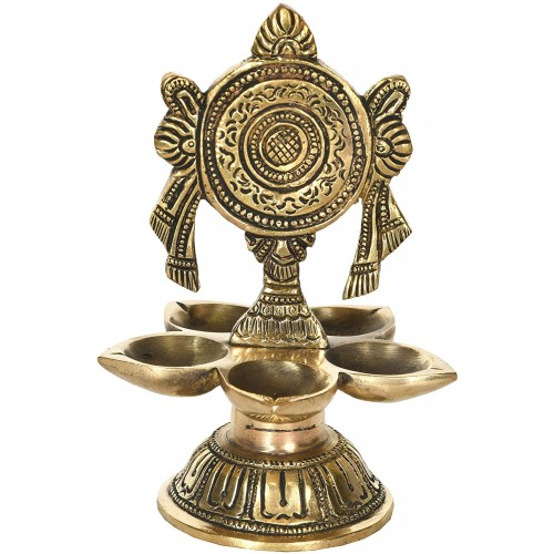 Decor with Five Diyas for Puja Brass Scu...