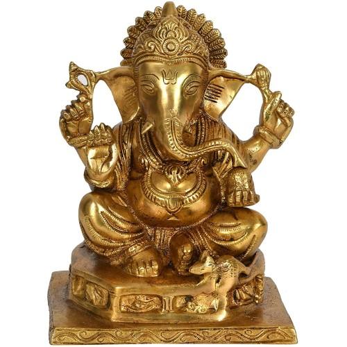 Ganesha Granting Abhaya - Brass Sculptur...