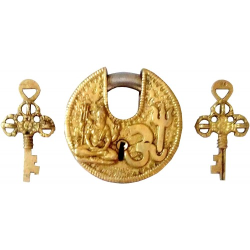 Brass Padlock Om Shiva Round Antique Des...