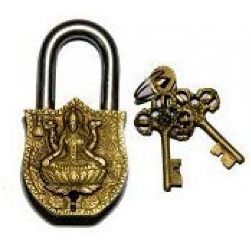 Handmade Brass Antique Pad Lock with Maa...