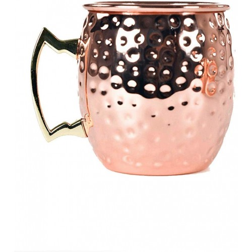 Hammered Copper Moscow Mule Mug with Bra...