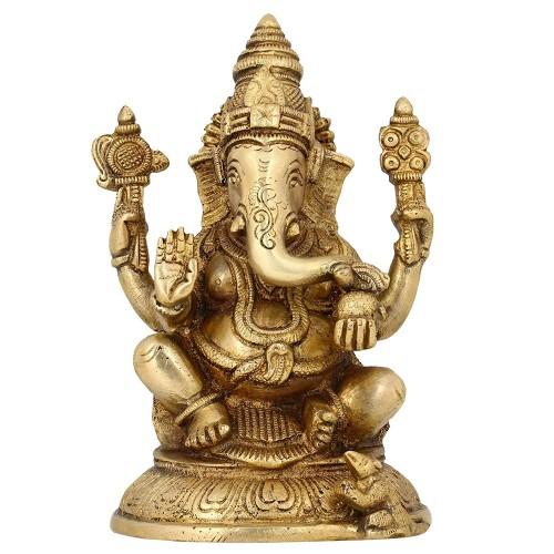 Ganesha Sitting Posture Brass Sculpture ...