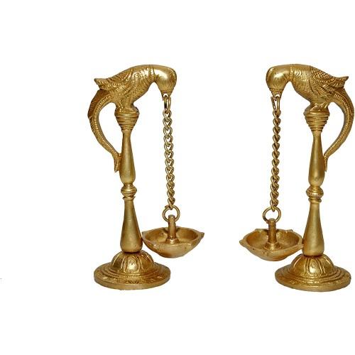 Brass Pair of Parrot Design Oil Lamp Diy...