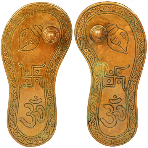 Charan Paduka with Auspicious Figure  Br...