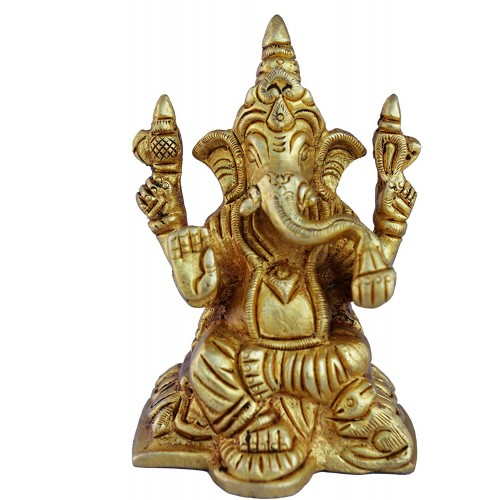 Lord Ganesha Brass Statue For Home Decor...