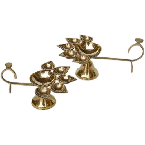 Pure Brass Panch Deepak Aarti Oil Lamp f...