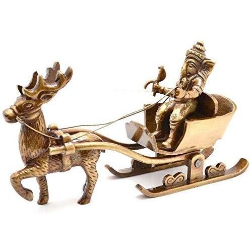 Brass Ganesha's Sleigh Riding Reindeer S...