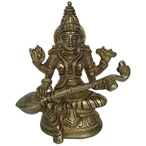 Goddess Saraswati Brass Metal Statue