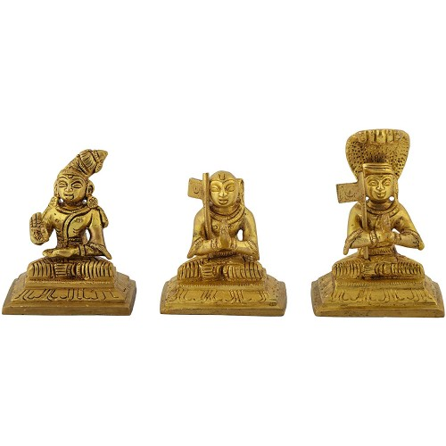 Brass Aacharya Idol Set fo 3 Swami Nama...