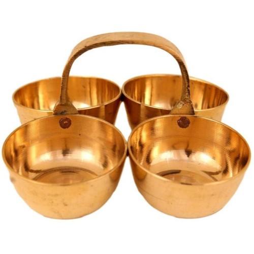 Brass Four Cups Set Pooja Utility