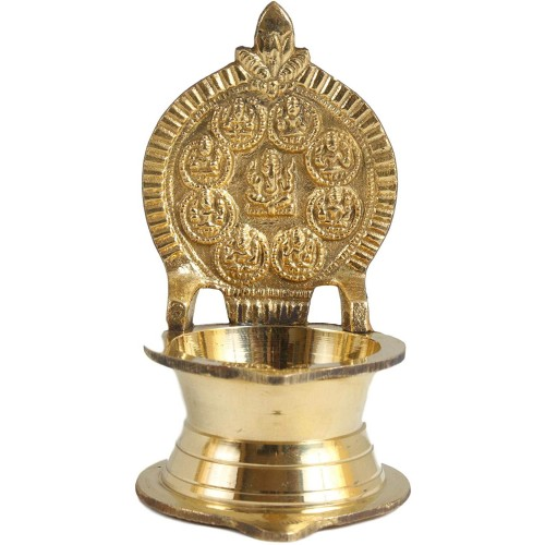 Brass Ashtalakshmi Lamp with Ganesha in ...