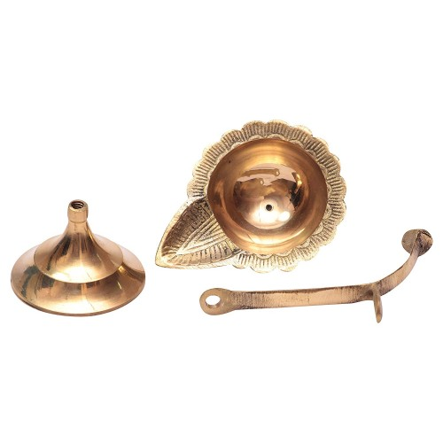 Handmade Brass Oil Lamp - Diya Lamp with beautiful handle Engraved Design