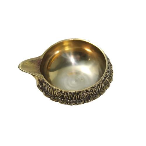 Handmade Brass Oil Lamp - Diya Lamp Engr...