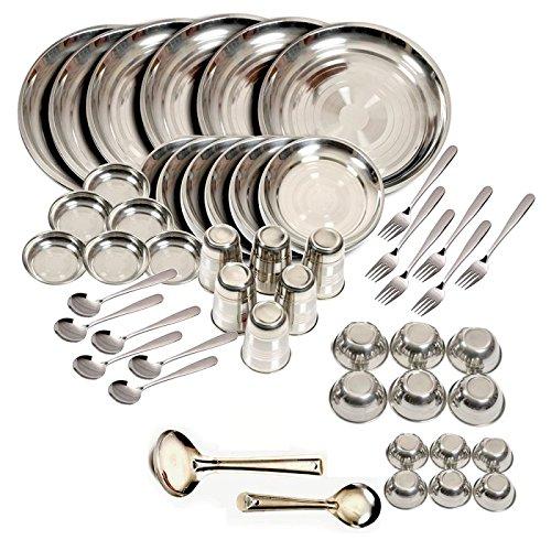 Stainless steel Dinner Set of 50 Glass C...