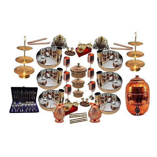 Handmade Indian Dinnerware Stainless Steel Copper Traditional Dinner Set of Thali Plate, Bowls, Glass, Sweet Dish, Spoon, Cake Stand, Water Jug, Water Dispenser, Nut Bowl, Serving Bowl Tureen with Lid