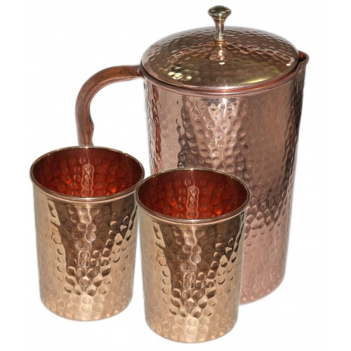 Ayurvedic Pure Copper Water Pitcher Jug Set 2 Water Glasses Cup Tumbler Jug Capacity 1500 ML Glass Capacity 200 ML Copper Hammered