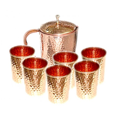 Copper Jug with 6 Tumbler Glass Set for ...