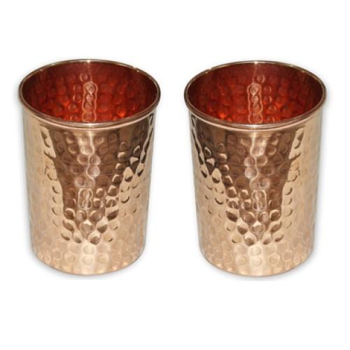 Set of 2 Hammered Copper Glass Tumbler D...