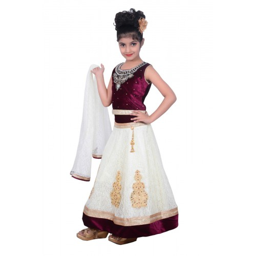 5f9f67295db5 Kids dresses baby Clothing Designer embroidered Lehenga Choli 3 - 4 Years  Velvet