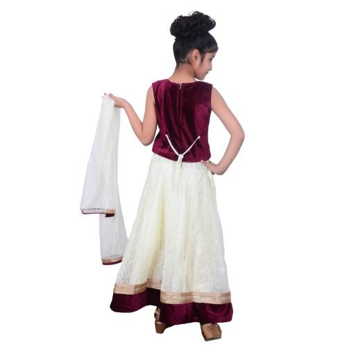 Kids dresses baby Clothing Designer embroidered Lehenga Choli 3 - 4 Years Velvet