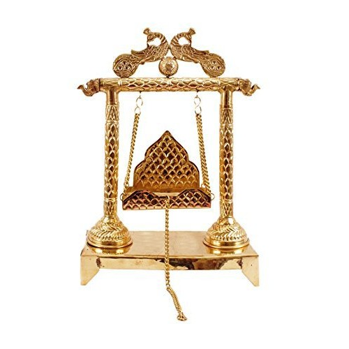 "LORD KRISHNA KANHA JHULA PEACOCK DESIGN BAL LADDU GOPAL SWING HINDU SACRED HOLY POOJA HINDU GOD TEMPLE ANTIQUE DECORE ( 15.0"" X 10.2"")"
