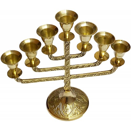 Brass Menorah Candle Holder 7 Branches F...