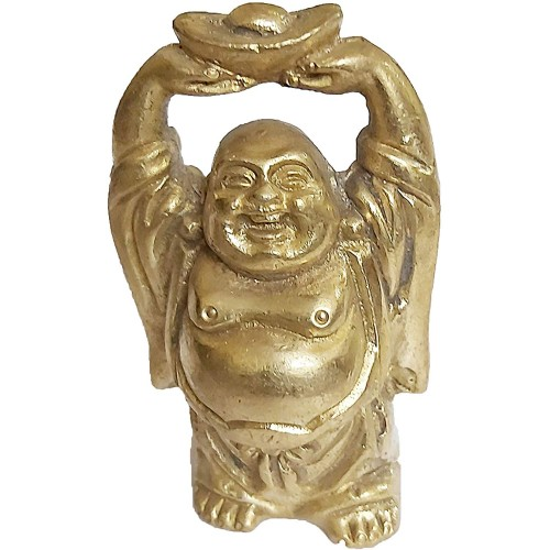 Laughing Buddha Statue in Solid Brass Metal for Wisdom and Wealth - Use as Home Decor Showpiece