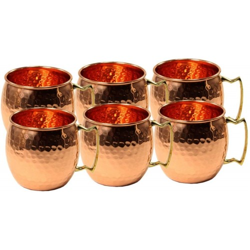 Set of 6 Hammered Copper Moscow Mule Mug...