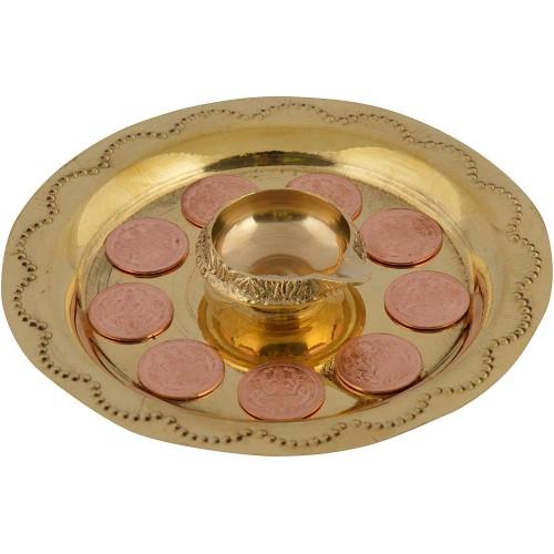 Brass Metal Diya with Ashtalakshmi Coin ...