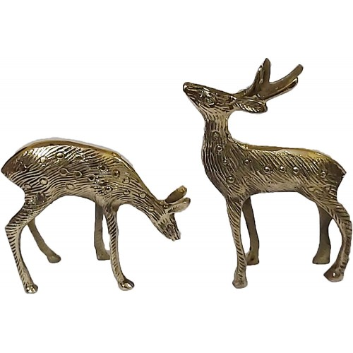 Brass Pair of Deer Statues Showpieces fo...