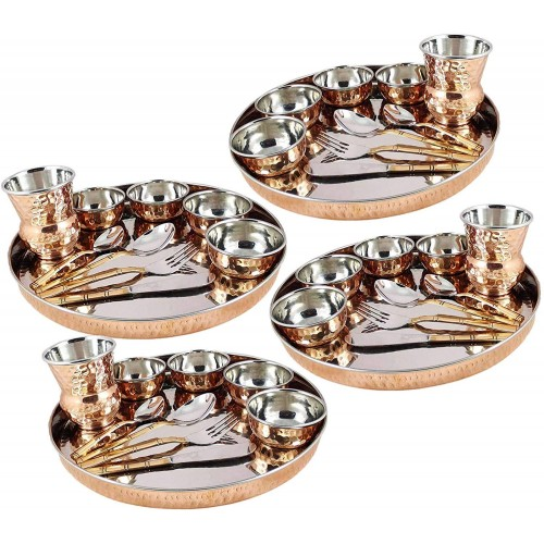 Pack of 4 Set Dinnerware Stainless Steel...
