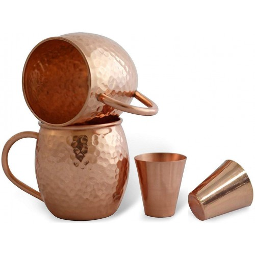 Solid Copper Moscow Mule Mugs Hammered M...