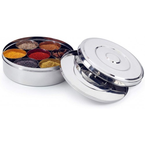 Stainless Steel Spice Box with Steel Lid...