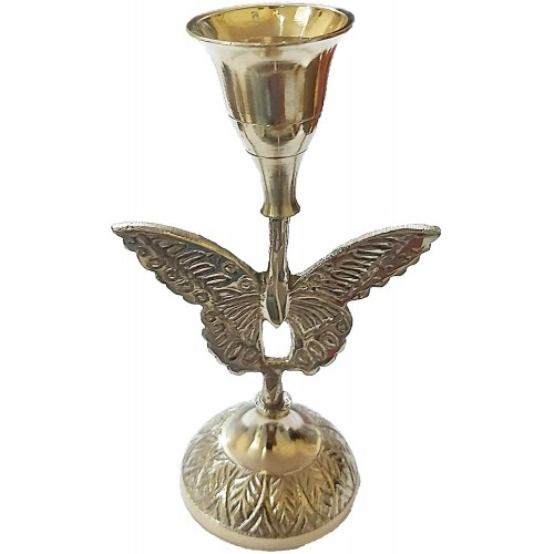 Brass Candle Stand With Butterfly Engrav...