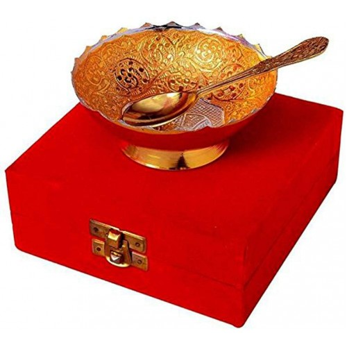Brass Bowl Platter Tray with Spoon India...