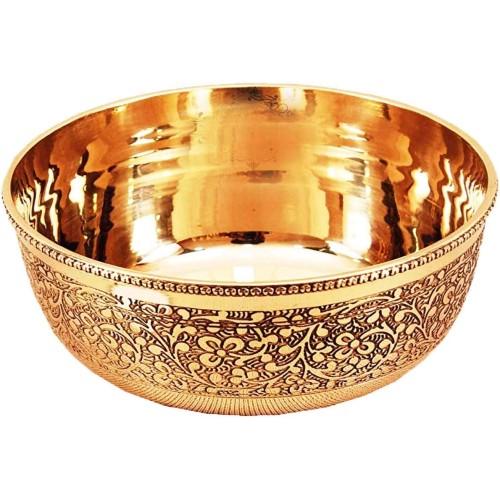 Brass Bowl, Embossed Flower Design Servi...