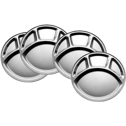 100% Stainless Steel Four in one Dinner Plate Four sections divided plate Four section plate -Set of 4 Mess Trays Great for Camping, 30 cm