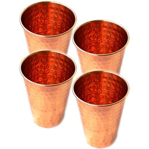 Set of 4 Premium Quality Hammered Copper...