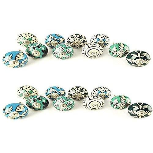 20 Ornate Blue Floral Ceramic Knobs for ...