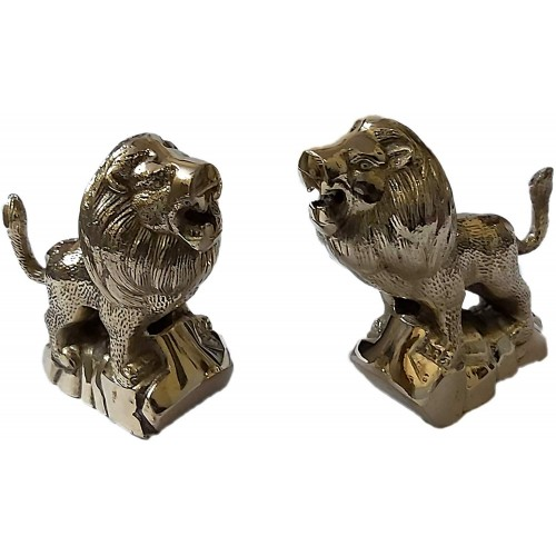 A Pair of Brass Lucky Lion Statues Deskt...