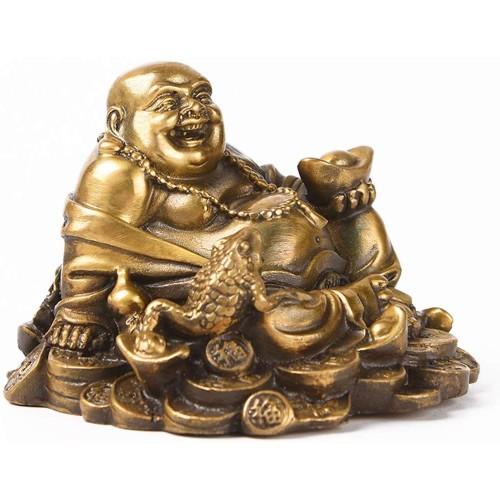 Brass Sitting Laughing Buddha with Money...