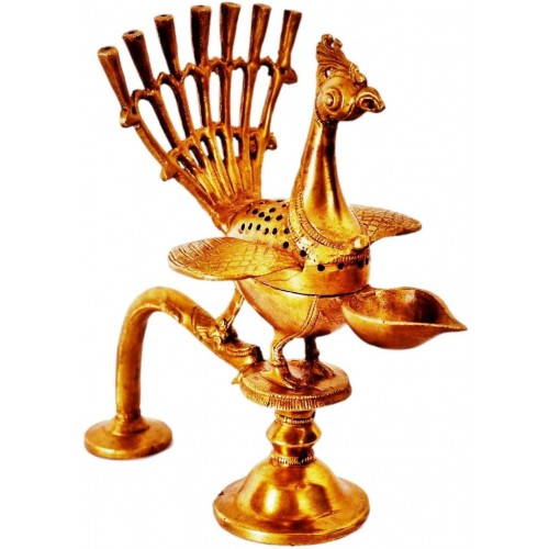 Brass Oil Lamp Kuthu Vilakku for Diya-Dh...