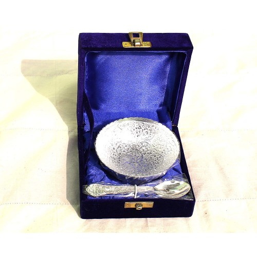 Royal Engraving Design with Decorative Gifting Box,Bowl Platter Tray with Spoon Silver Plated Brass Round Shape Bowel Silver Coated