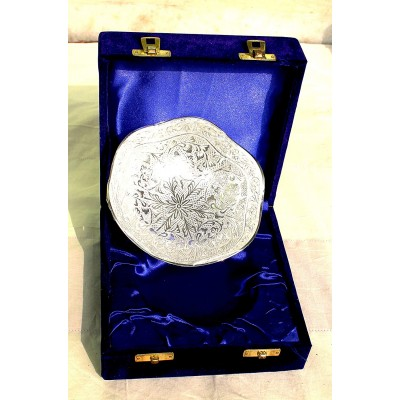 Royal Engraving Design with Decorative Gifting Box,Bowl Platter Tray with Spoon Silver Plated Brass Round With Flower Deign Silver Coated