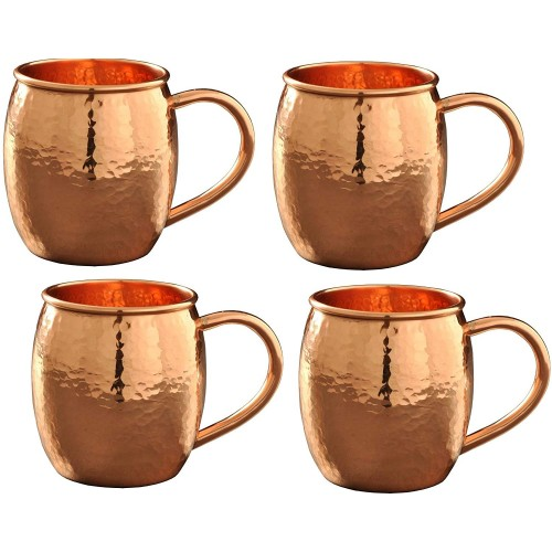Hammered Copper Moscow Mule Mug Cup with Copper Handle Size-16 Ounce ,Set Of-4