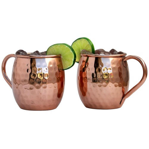 Moscow Mule 18 ounce Pure Copper Mugs Set of 2 Solid Hammered Design Gift Set